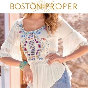 COMING SOON Boston Proper Embroidered Peasant Top